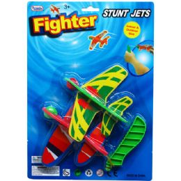 48 Units of TWO PIECE AIR PLANE GLIDER SET WITH SHOOTER IN BLISTER CARD - Cars, Planes, Trains & Bikes