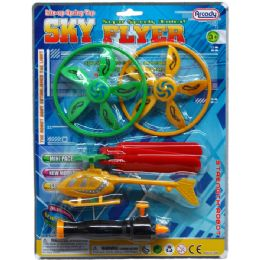 48 Units of FLYING SAUCERS & COPTER W/PULL LINE SHOOTER IN BLISTER CARD - Cars, Planes, Trains & Bikes