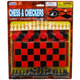72 Units of 48PC CHESS & CHECKERS W/BOARD IN BLISTER CARD - Playing Cards, Dice & Poker