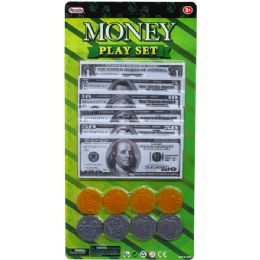 72 Units of 6o BilL-8 Plastic Coin Money Play Set In Blister Card - Toy Sets