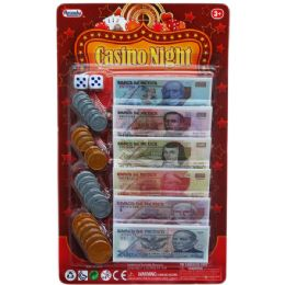 72 Units of 24 ASST MEXICAN BILLS CASINO NIGHT MONEY SET IN BLISTER CARD - Educational Toys
