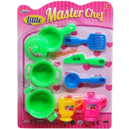 48 Units of 9pc Little Master Chef Cooking Playset In Blister Card - Toy Sets
