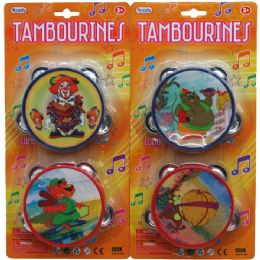 "48 Units of 2PC 4"" TAMBOURINE SET IN BLISTER CARD - Musical"
