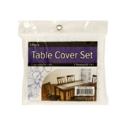 24 Units of Lace Table Cover Set With Placemats - Placemats