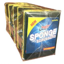 48 Units of 5 Pack Sponge Scrubbers Scourer - Scouring Pads & Sponges