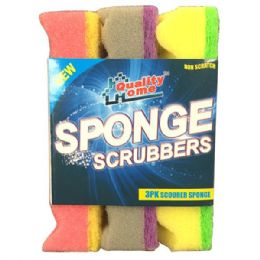 48 Units of 3 Pack Sponge Scrubbers Scourer - Scouring Pads & Sponges