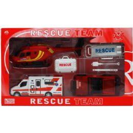 12 Units of 3 VEHICLE RESCUE TEAM PLAY SET W/ACCSS IN WINDOW BOX - Cars, Planes, Trains & Bikes