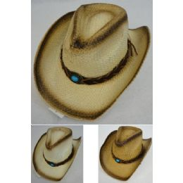 24 Units of Paper Straw Cowboy Hat [turquoise Stone] - Cowboy & Boonie Hat