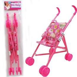 "24 Units of 20""H PLASTIC FRAME DOLL STROLLER IN POLY BAG W/ HEADER - Dolls"