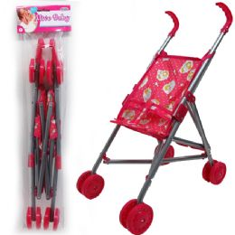 24 Units of STEEL FRAME DOLL STROLLER IN POLY BAG WITH HEADER - Dolls