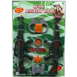 """24 Units of 2PC 15.5"""" M16 TOY ASSULT RIFLE SET W/ACCSS. IN BLISTER CARD - Toy Weapons"""