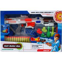 "12 Units of 17"" FOAM TOY MACHINE GUN W/TARGETS IN WINDOW BOX - Toy Weapons"
