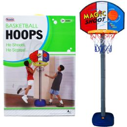 "6 Units of 60""H PLASTIC BASKETBALL PLAY SET W/21"" BACKBOARD IN COLOR BOX - Sports Toys"