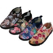 "36 Units of Women's Floral Printed ""wave"" Water Shoes - Women's Aqua Socks"