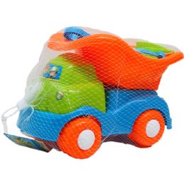 """12 Units of 12"""" JUMBO BEACH TOY TRUCK W/ACCSS IN NET BAG - Beach Toys"""