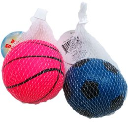 """48 Units of 4.5"""" SPORT BALL IN PEGABLE NET BAG - Sports Toys"""