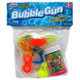 """48 Units of 4.5"""" W/U LIGHT UP BUBBLE GUN PLAYSET IN POLY BAG W/HEADER, 3 ASSORTED - Travel & Luggage Items"""