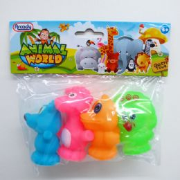 """144 Units of 3"""" 4PC SQUEEZING ANIMAL SET IN POLY BAG W/HEADER - Animals & Reptiles"""