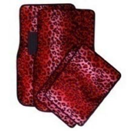 10 Units of 4PC CARPET FLOOR MATS LEOPARD RED PRINT 2PC FRONT & 2PC BACK MATS - AUTO SUNSHADES/MATS