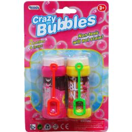 """72 Units of 2PC 3.25""""CRAZY-BUBBLES BOTTLES & LOOPS IN BLISTER CARD - Bubbles"""