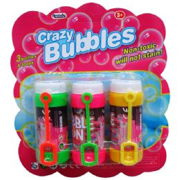 """48 Units of 3PC 3.25""""CRAZY-BUBBLES BOTTLES & LOOPS IN BLISTERED CARD - Bubbles"""