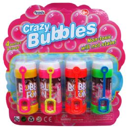 """48 Units of 4PC 3.25""""CRAZY-BUBBLES BOTTLES & LOOPS IN BLISTER CARD - Bubbles"""