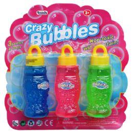 """72 Units of 3PC 4"""" BOTTLE CRAZY BUBBLES SET IN BLISTER CARD - Bubbles"""