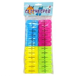 48 Units of Plastic Clothes Pins 24ct Assorted Colors - Clothes Pins