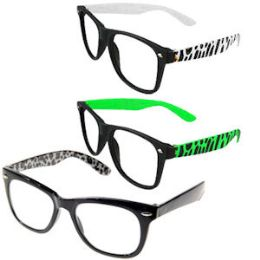 120 Units of ANIMAL PRINT LENSLESS GLASSES. - Reading Glasses
