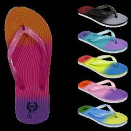 72 Units of Women's Glitter Flip Flops Multicolored - 4th Of July