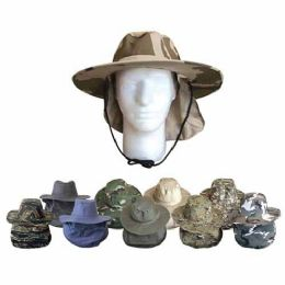 48 Units of Wholesale SAFARI BUCKET HAT WITH EAR NECK FLAP - Bucket Hats