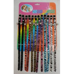 24 Units of Cat Dog Collar With Bell Felt Zebra Stripes - Pet Collars and Leashes