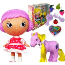 8 Units of FRUIT KISS KID DOLLS WITH PONY - Dolls