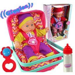 6 Units of GIGGLING BABY DOLLS IN CARRIER - Dolls