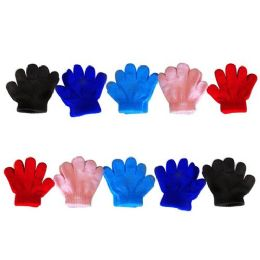 120 Units of Wholesale Asst Solid Glove Infant Sizes - Knitted Stretch Gloves