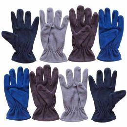 60 Units of Wholesale 9.5 MENS ASSORTED FLEECE GLOVE 4 COLORS - Fleece Gloves