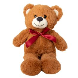"""12 Units of 13"""" Plush Brown Bear with Bow - Leather Purses and Handbags"""