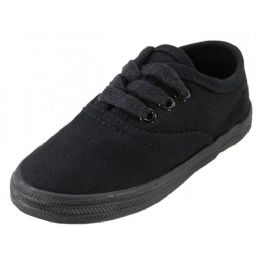 24 Units of Children's Lace Up Casual Canvas Shoes Black Color Only - Unisex Footwear