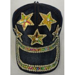24 Units of Denim Hat With Bling *gold [5 Stars] - Kids Baseball Caps
