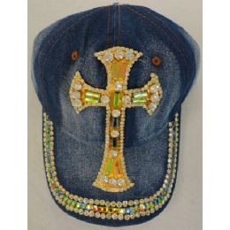 12 Units of Denim Hat with Bling *Gold [Large Cross] - Baseball Caps & Snap Backs