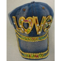 24 Units of Denim Hat with Bling *Gold [LOVE] - Baseball Caps & Snap Backs