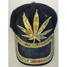 24 Units of Denim Hat with Bling *Gold [Marijuana] - Baseball Caps & Snap Backs