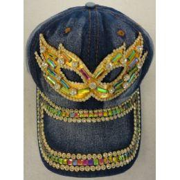24 Units of Denim Hat with Bling *Gold [Masquerade Mask] - Baseball Caps & Snap Backs