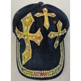 24 Units of Denim Hat with Bling *Gold [Triple Crosses] - Baseball Caps & Snap Backs