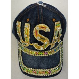 24 Units of Denim Hat with Bling *Gold [USA] - Baseball Caps & Snap Backs