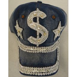 24 Units of Denim Hat with Bling *Silver [$] - Baseball Caps & Snap Backs