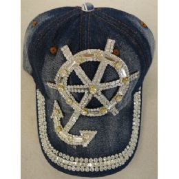24 Units of Denim Hat with Bling *Silver [Anchor & Wheel] - Baseball Caps & Snap Backs