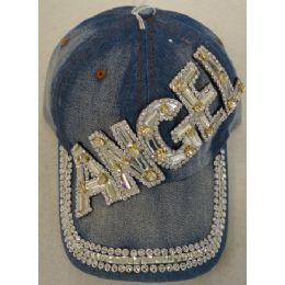 24 Units of Denim Hat with Bling *Silver [ANGEL] - Baseball Caps & Snap Backs