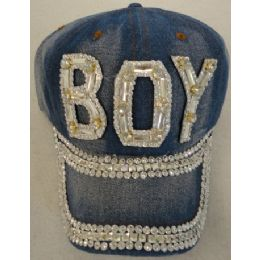 24 Units of Denim Hat with Bling *Silver [BOY] - Baseball Caps & Snap Backs