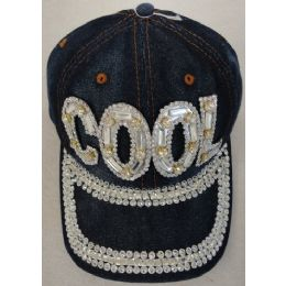 24 Units of Denim Hat with Bling *Silver [COOL] - Baseball Caps & Snap Backs